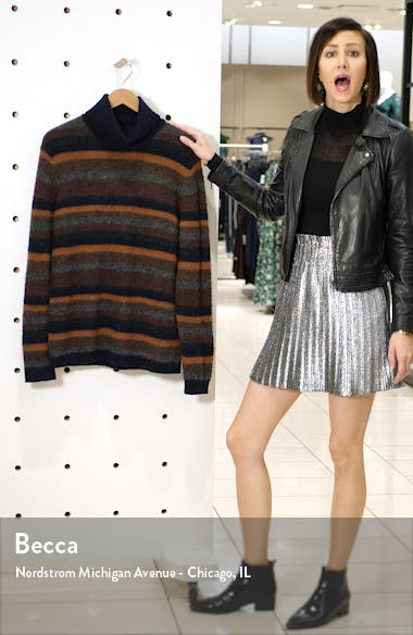 John 6352 Slim Fit Stripe Wool Blend Turtleneck Sweater, sales video thumbnail