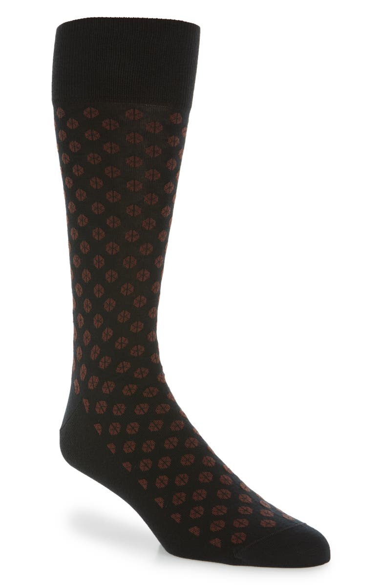 NORDSTROM SIGNATURE Hexagon Pima Cotton Blend Socks, Main, color, BLACK/ BURGUNDY