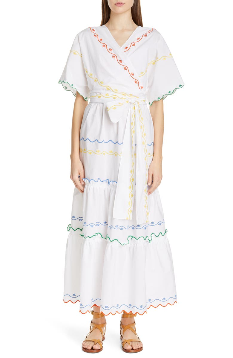 TORY BURCH Embroidered Wrap Maxi Dress, Main, color, 100