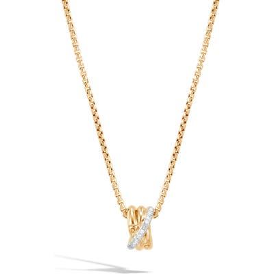 John Hardy Bamboo Diamond Pave Pendant Necklace
