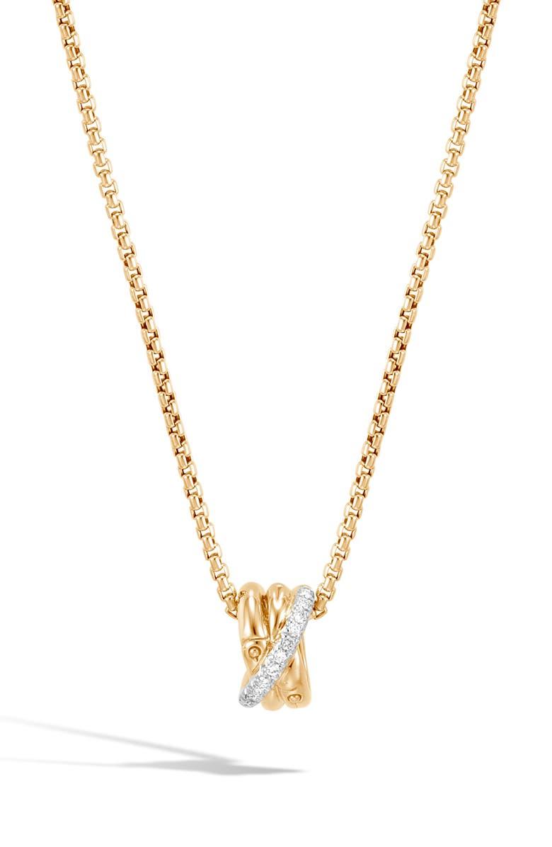 JOHN HARDY Bamboo Diamond Pavé Pendant Necklace, Main, color, GOLD/ DIAMOND