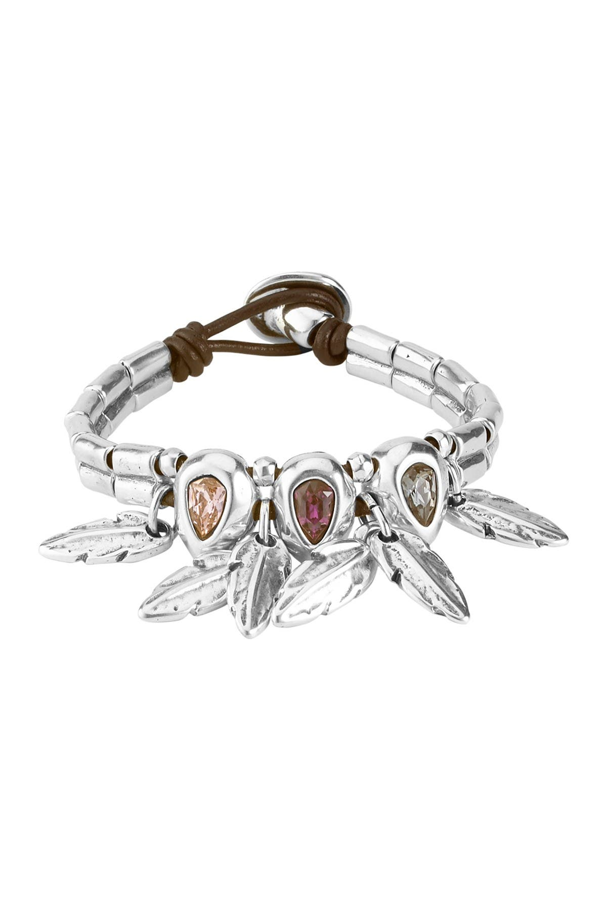 Image of Uno De 50 Picoteo Feather Charm Leather Bracelet