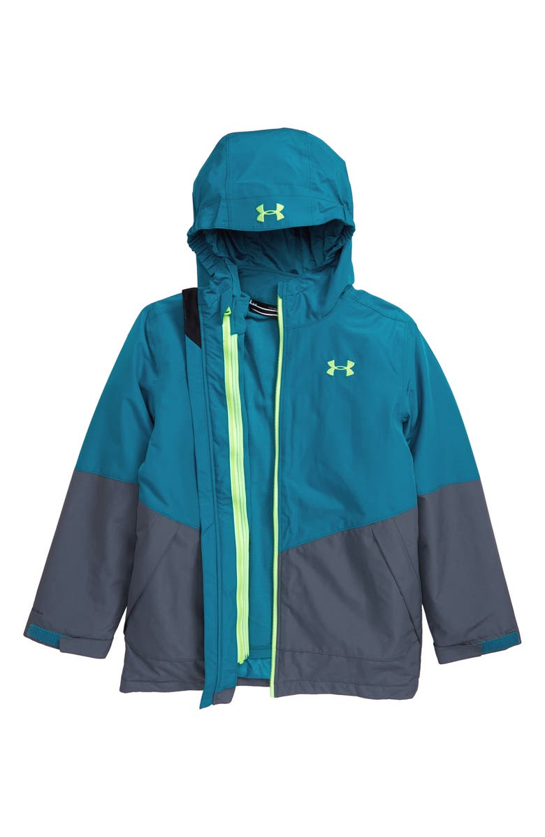 UNDER ARMOUR Westward 3-in-1 Windproof & Waterproof Hooded Jacket, Main, color, TEAL VIBE
