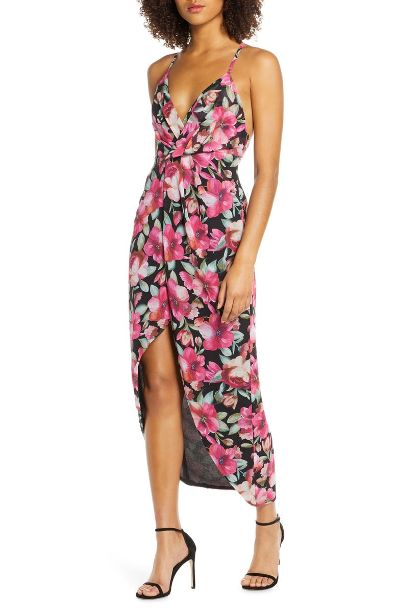 Fame And Partners The Ina Floral Print Tulip Hem Cocktail Dress