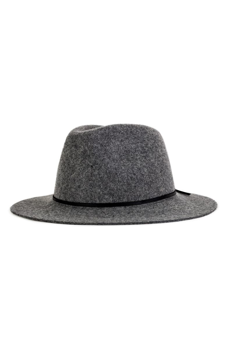 BRIXTON 'Wesley' Wool Fedora, Main, color, HEATHER GREY