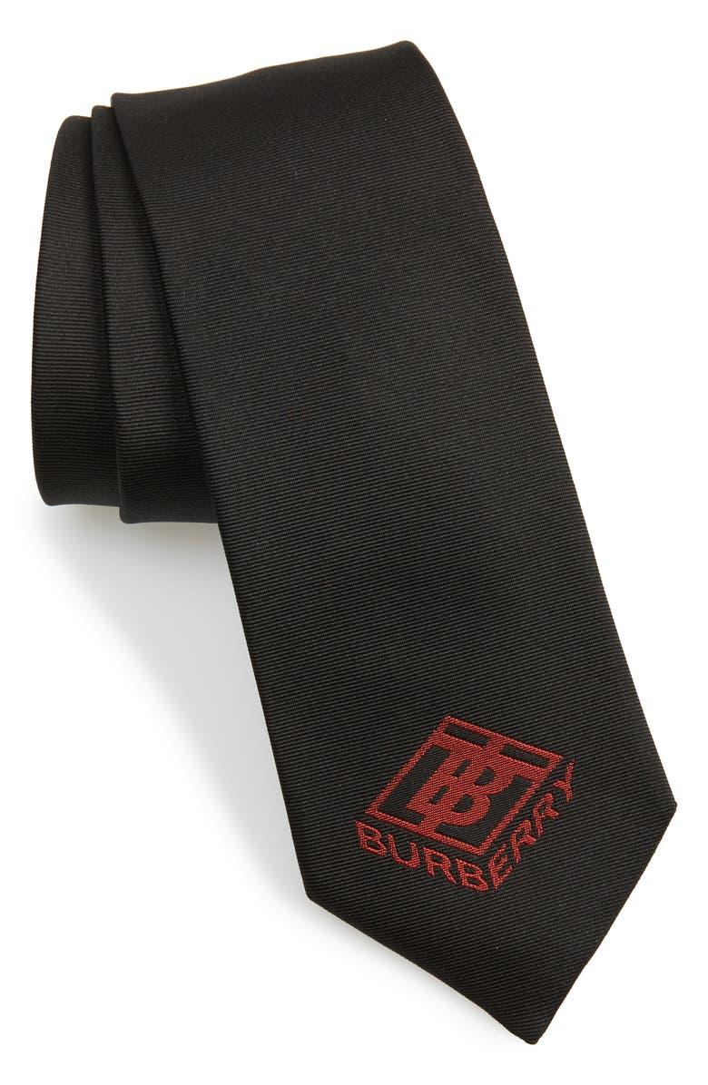 BURBERRY Manston Monogram Silk Tie, Main, color, DEEP RED