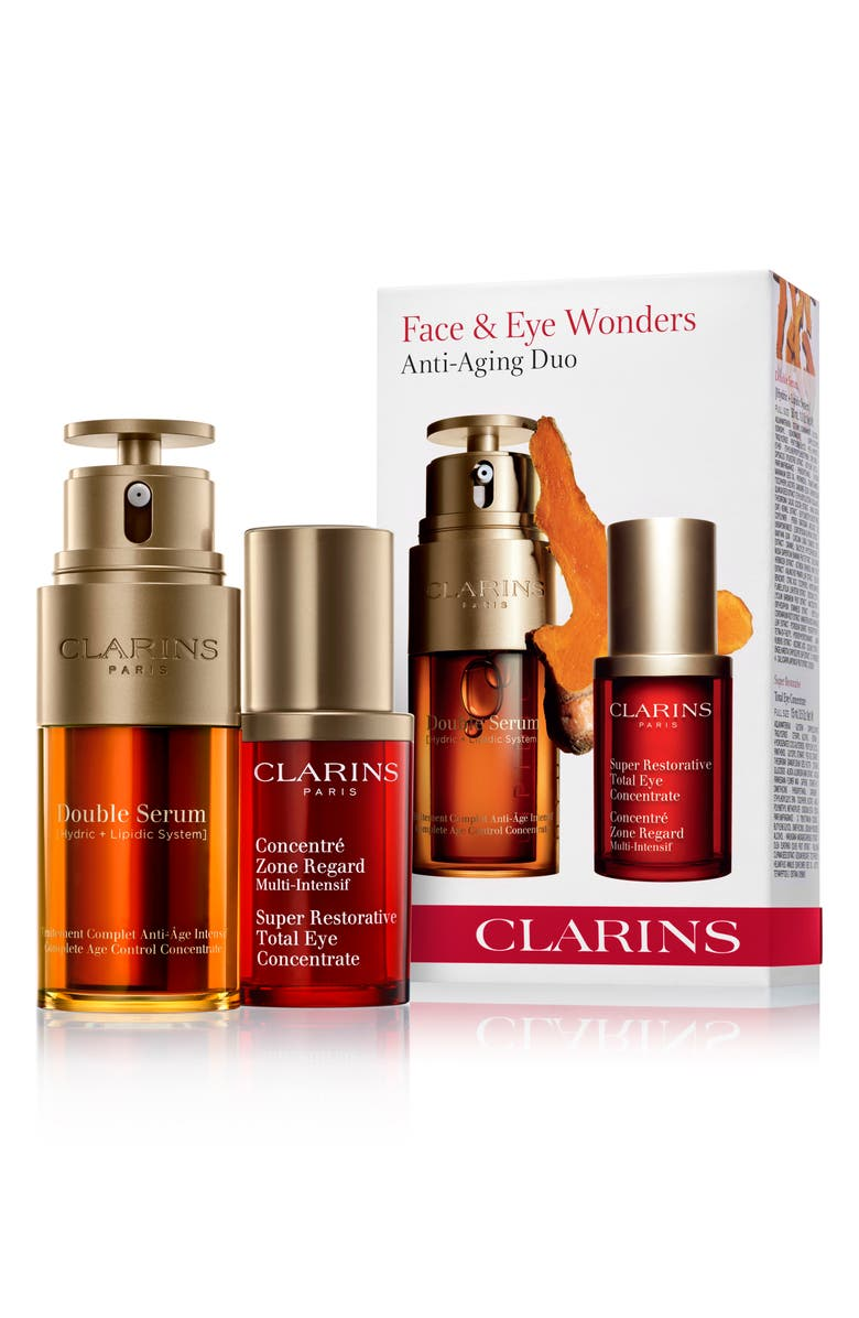 CLARINS Full Size Face & Eye Wonders Anti-Aging Serum Set, Main, color, NO COLOR