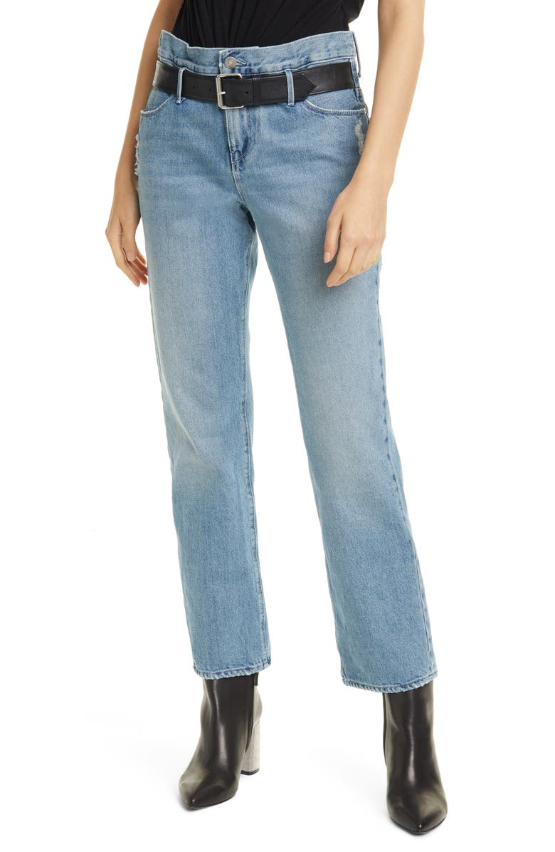 RTA Dexter Belted Boyfriend Jeans, Main, color, CLEAN BLUE