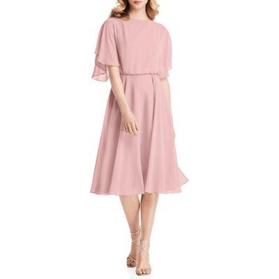 Jenny Packham Flutter Sleeve Open Back Chiffon Cocktail Dress, Pink