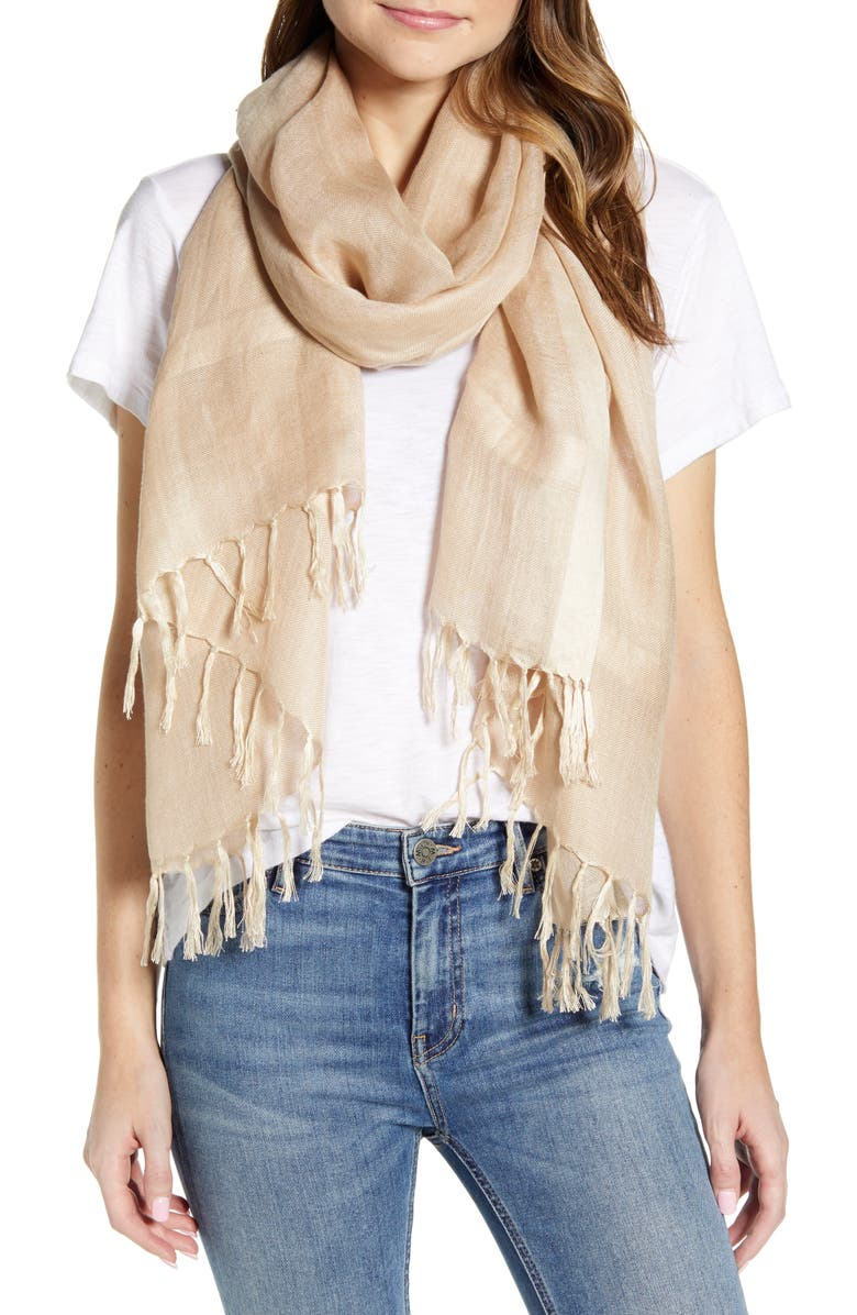 NORDSTROM Linen Blend Scarf, Main, color, TAN NOMAD