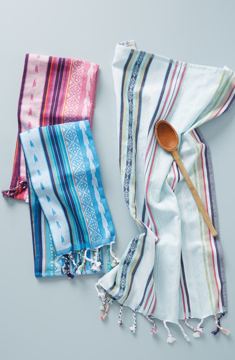 ANTHROPOLOGIE Zahra 3-Pack Stripe Dishtowels, Main, color, 600