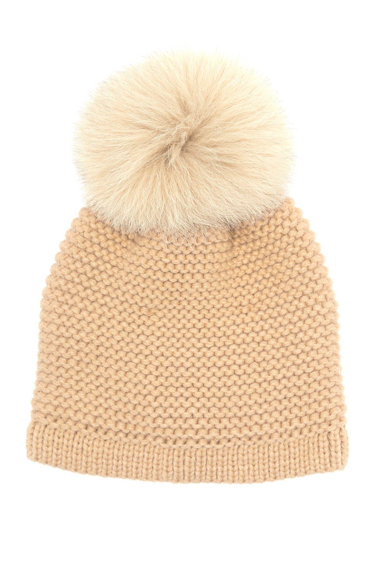 Image of Kyi Kyi Genuine Fox Fur Pompom Knit Beanie