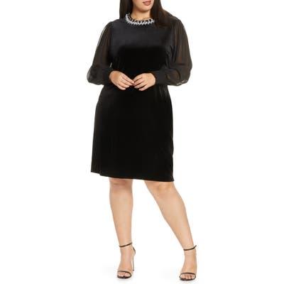 Plus Size Tahari Stretch Velvet Cocktail Dress, Black