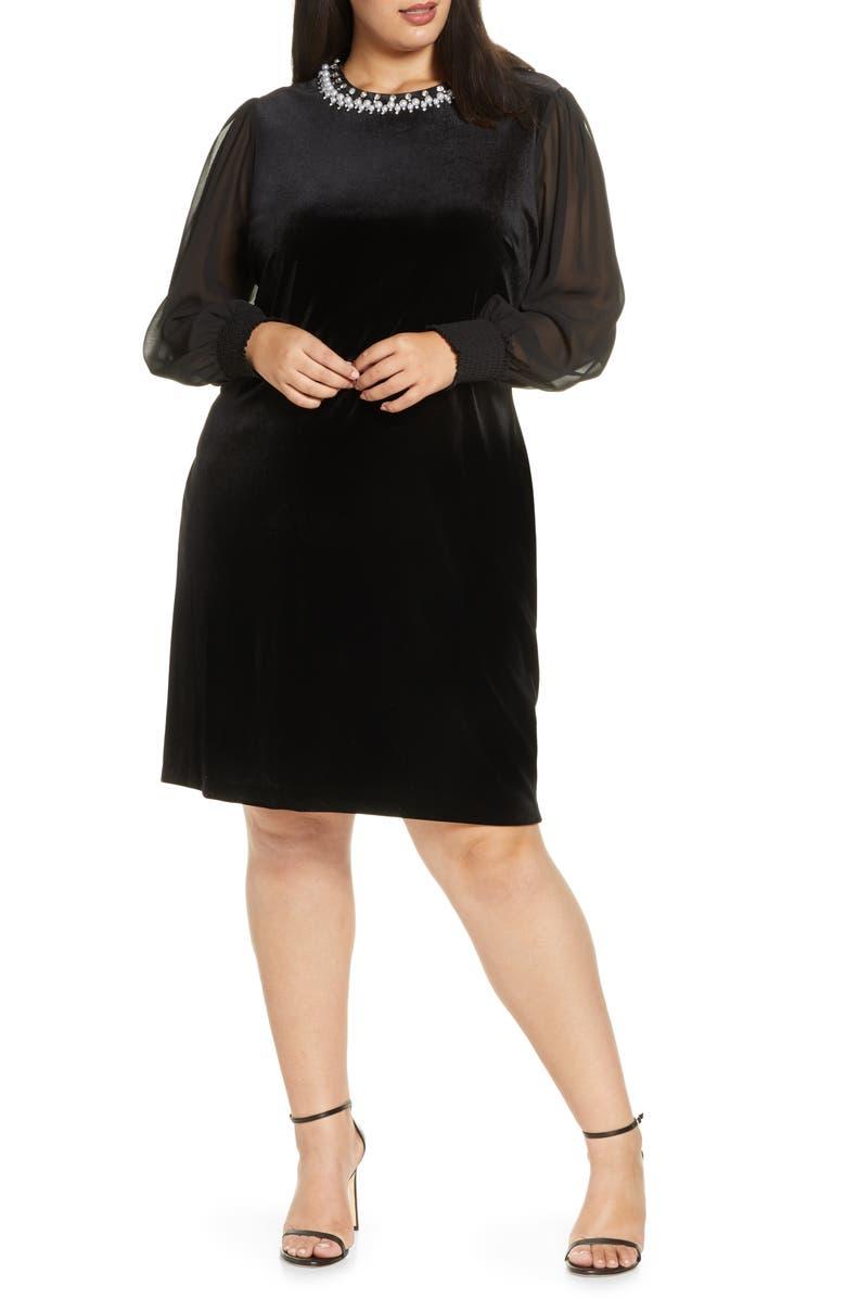 TAHARI Stretch Velvet Cocktail Dress, Main, color, BLACK