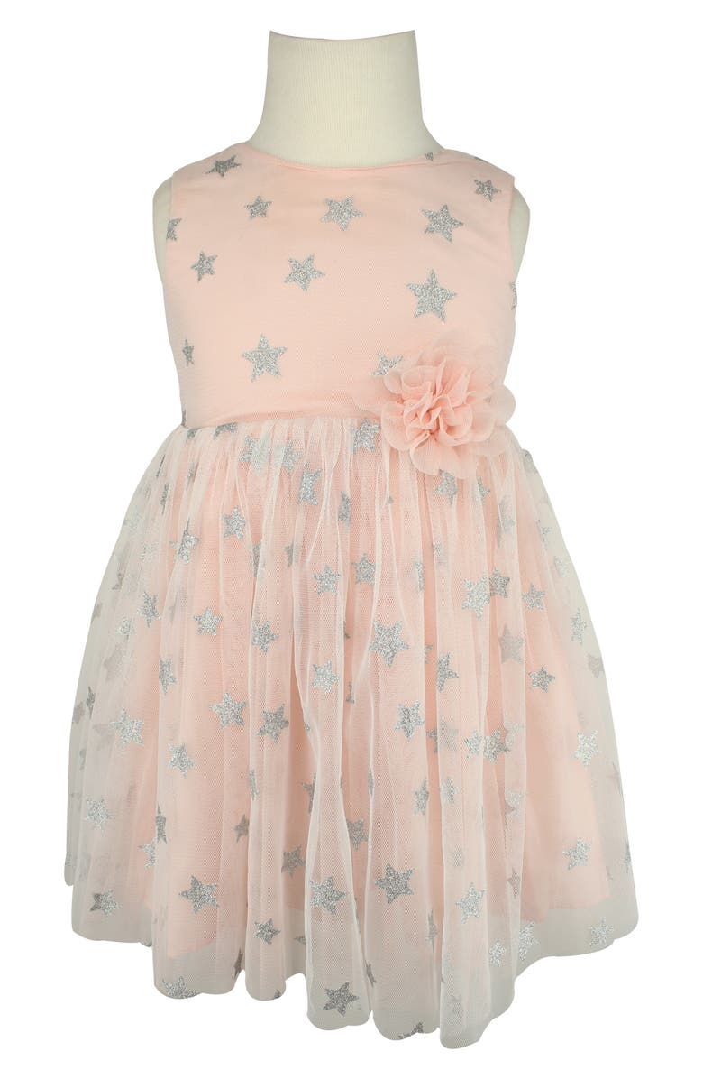 POPATU Glitter Star Tulle Dress, Main, color, PEACH