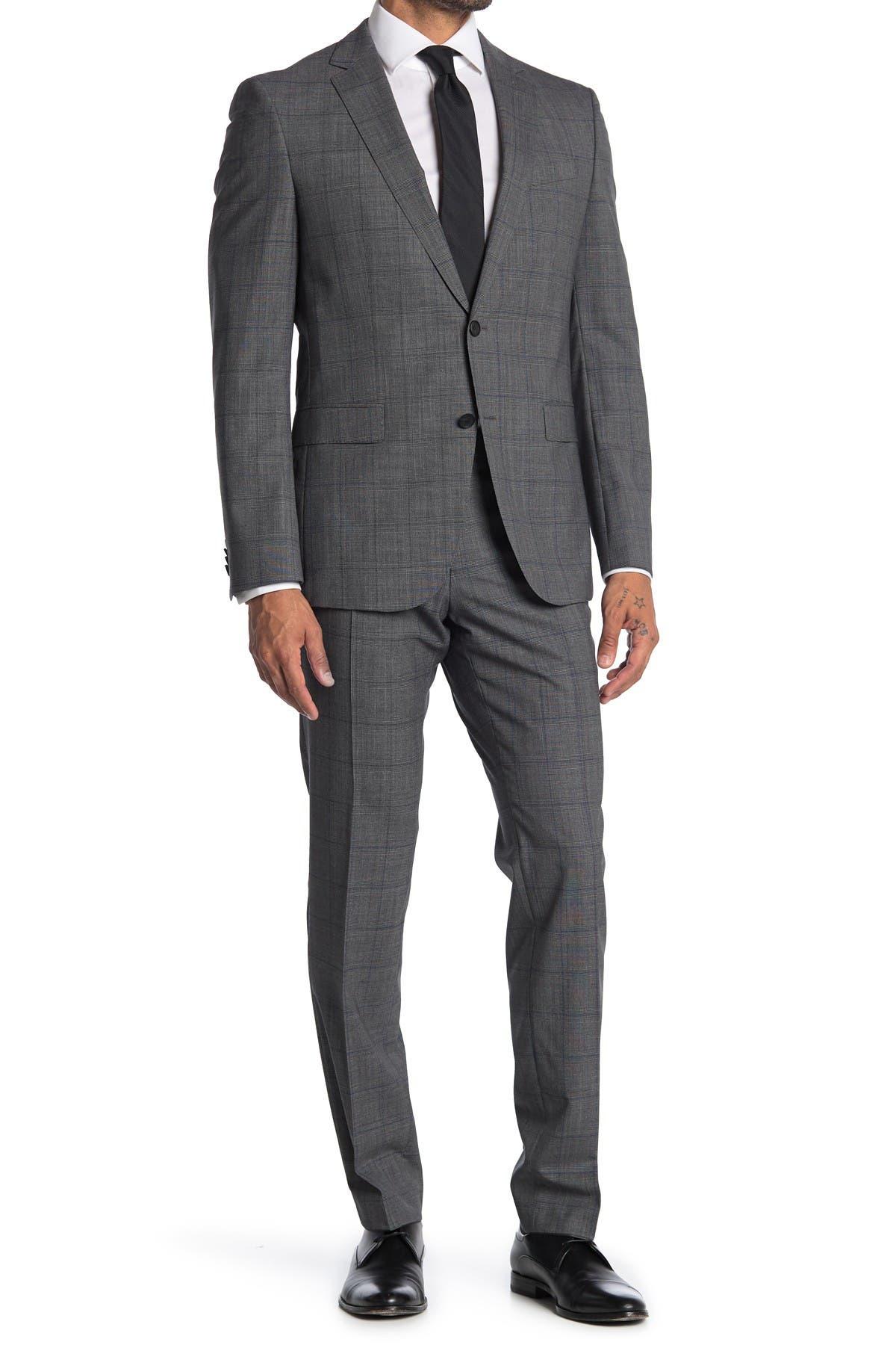 Image of BOSS Nova Ben Brushed Plaid Wool Suit