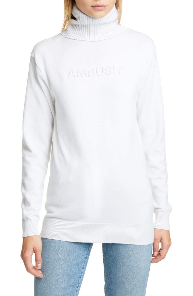 AMBUSH Logo Embossed Turtleneck Sweater, Main, color, 100