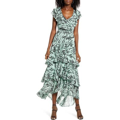 Wayf Chelsea Tiered Ruffle Maxi Dress, Green