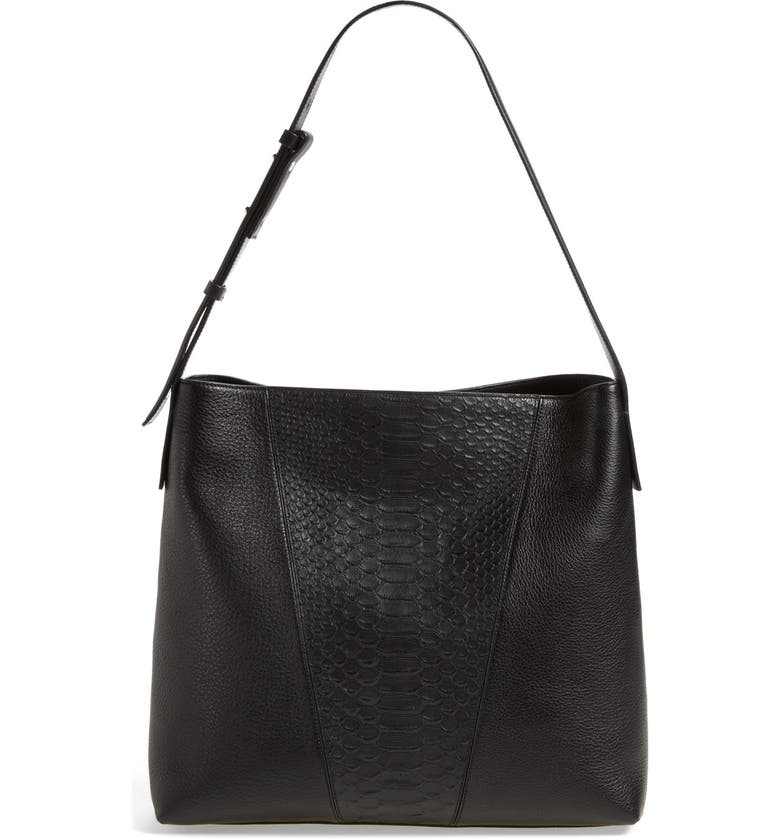 VINCE 'Modern V' Python Embossed Leather Hobo Bag, Main, color, 001