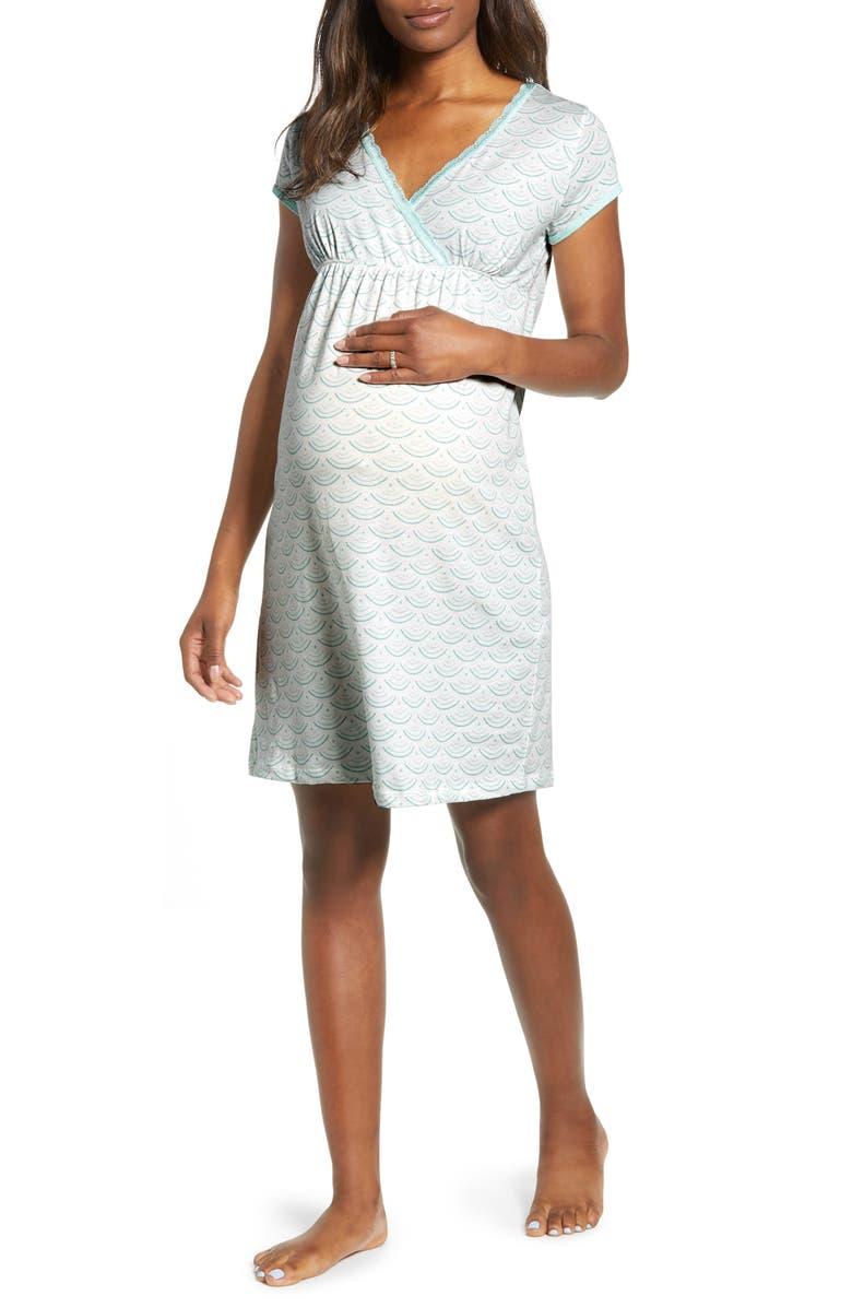 BELABUMBUM Maternity/Nursing Nightgown, Main, color, AQUA WATER PRINT