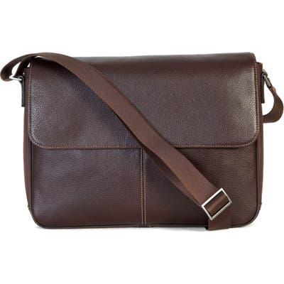 Boconi Tyler Leather Messenger Bag - Brown