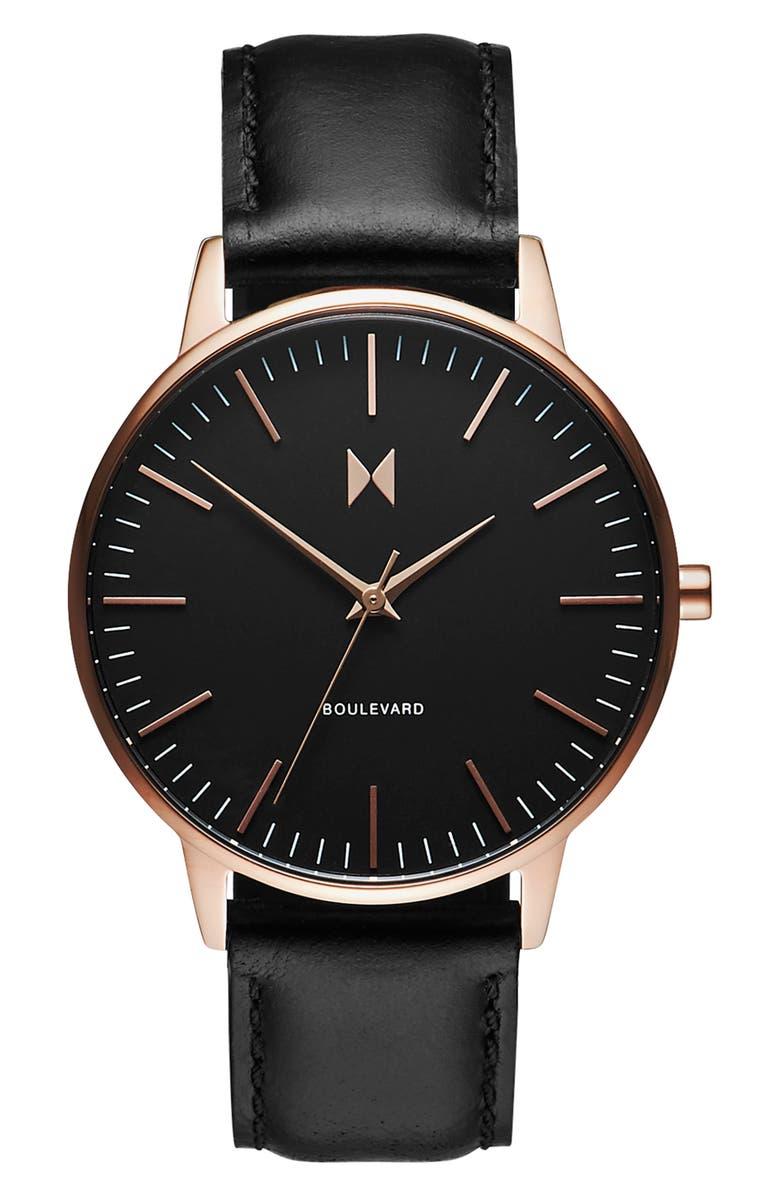 MVMT Boulevard Leather Strap Watch, 38mm, Main, color, BLACK/ ROSE GOLD