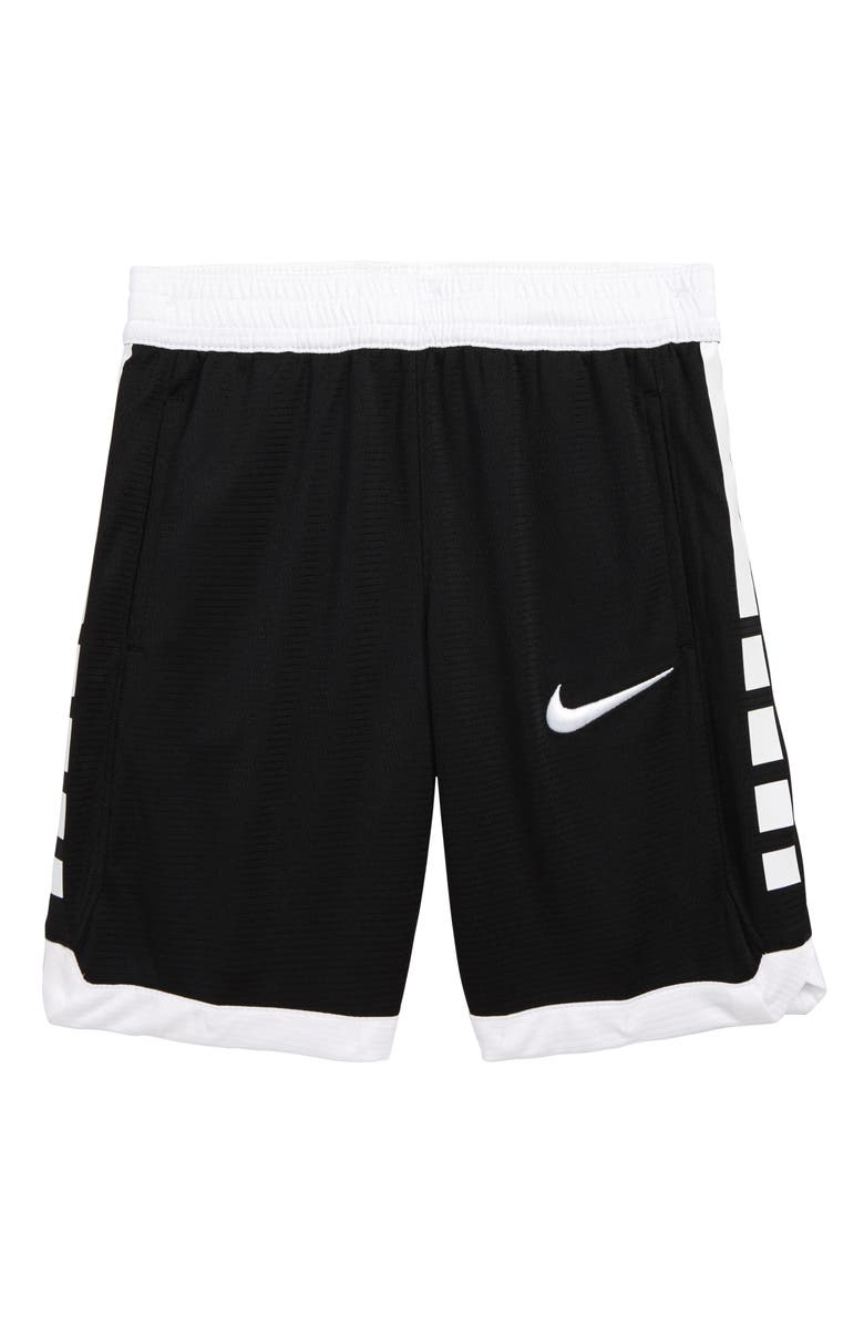 NIKE Dry Elite Stripe Athletic Shorts, Main, color, BLACK