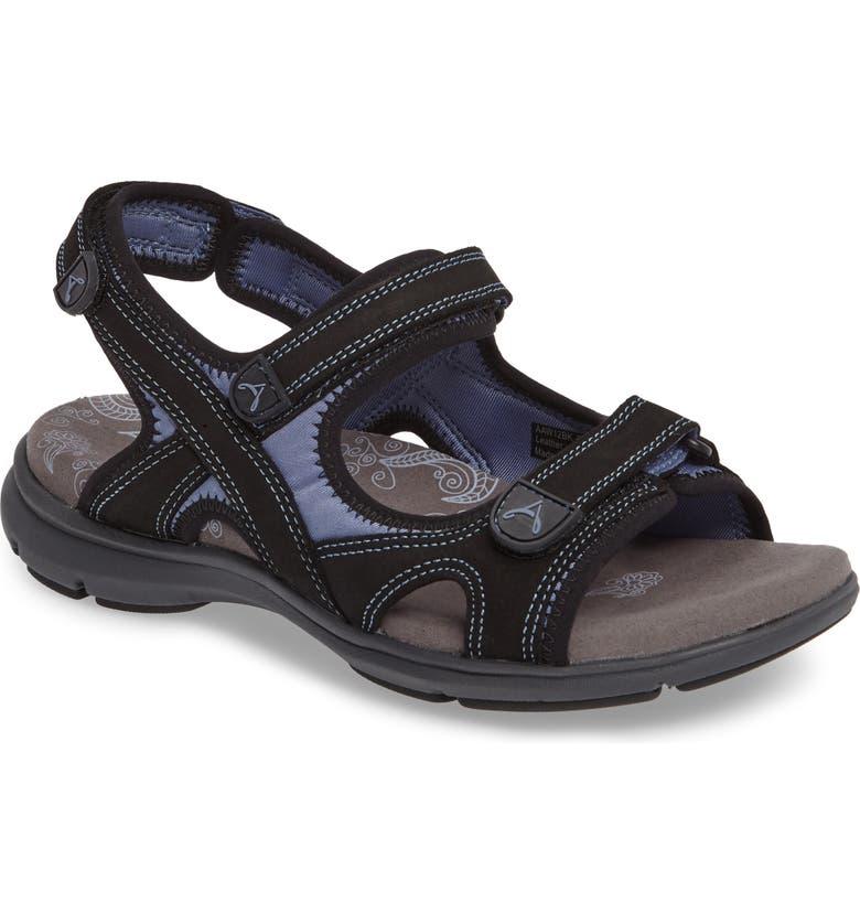 ARAVON Rev Sandal, Main, color, BLACK FABRIC