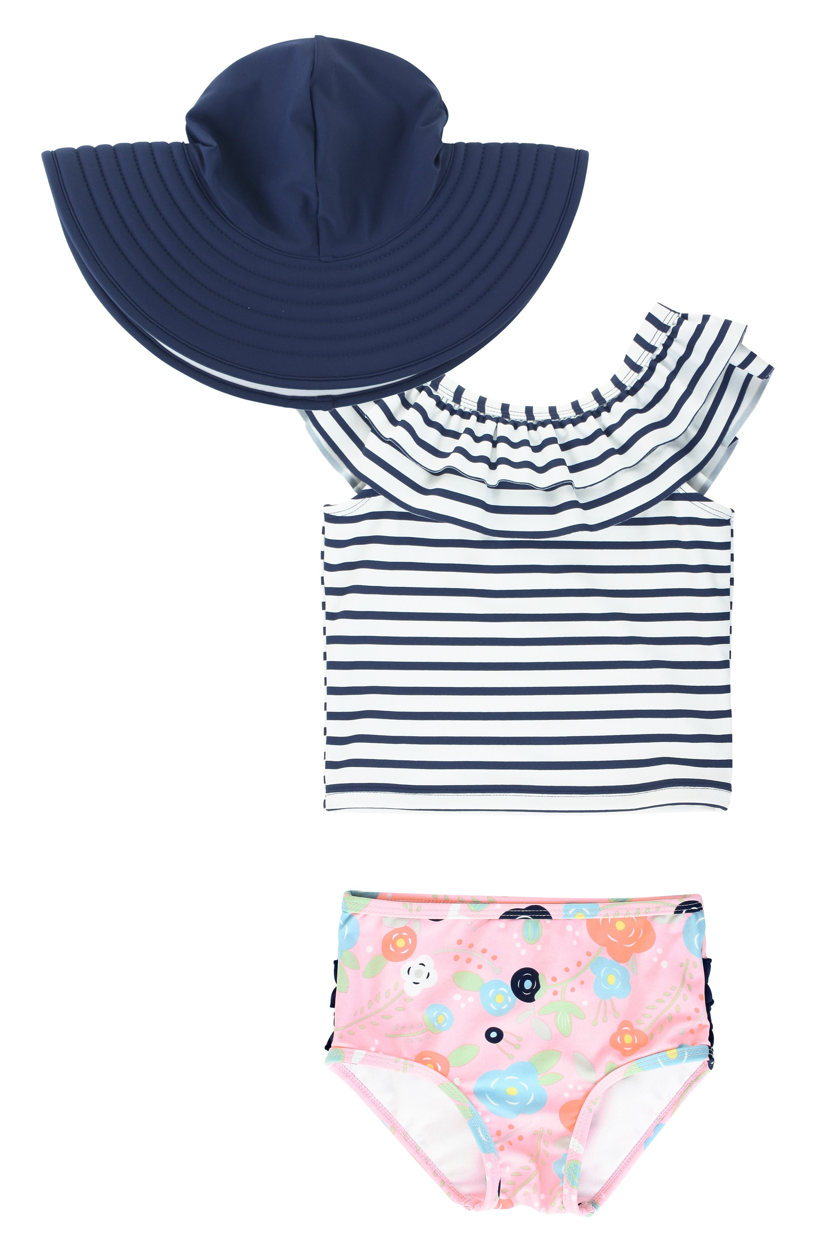 Breton stripes, bright blossoms and ruffled trim add ample charm to a beach-ready tankini swimsuit with built-in UPF 50+ for extra sun protection. Style Name: Rufflebutts Stripe Two-Piece Swimsuit & Reversible Hat Set (Baby). Style Number: 5915553. Available in stores.