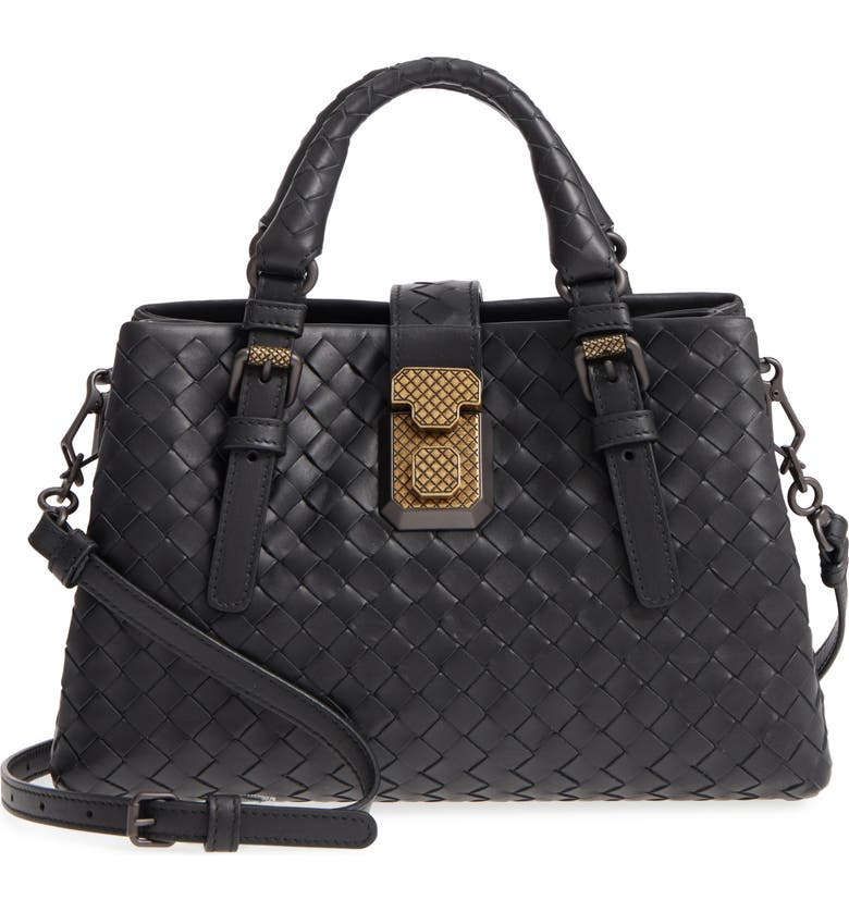BOTTEGA VENETA Mini Roma Leather Satchel, Main, color, 1000- NERO