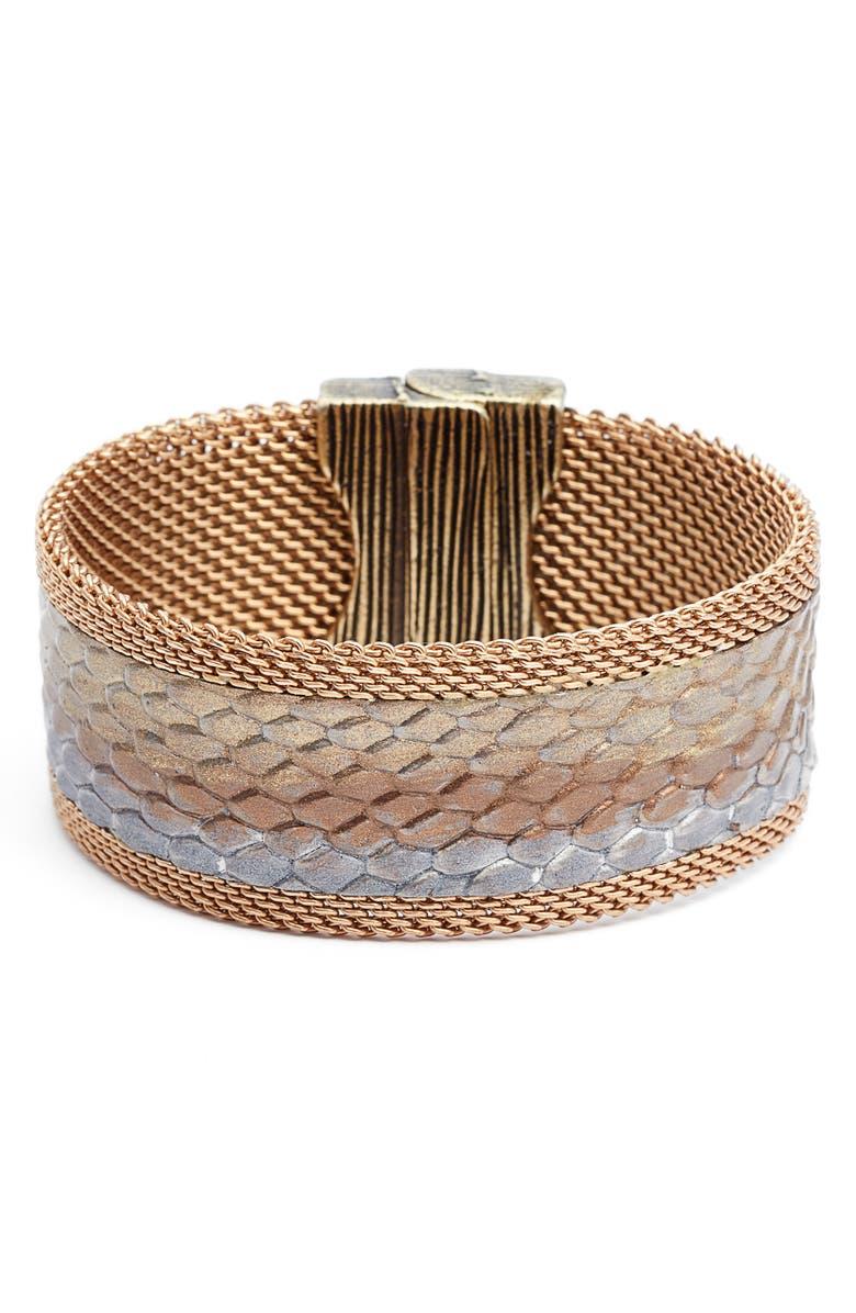CYNTHIA DESSER Ombré Washed Leather Bracelet, Main, color, 710