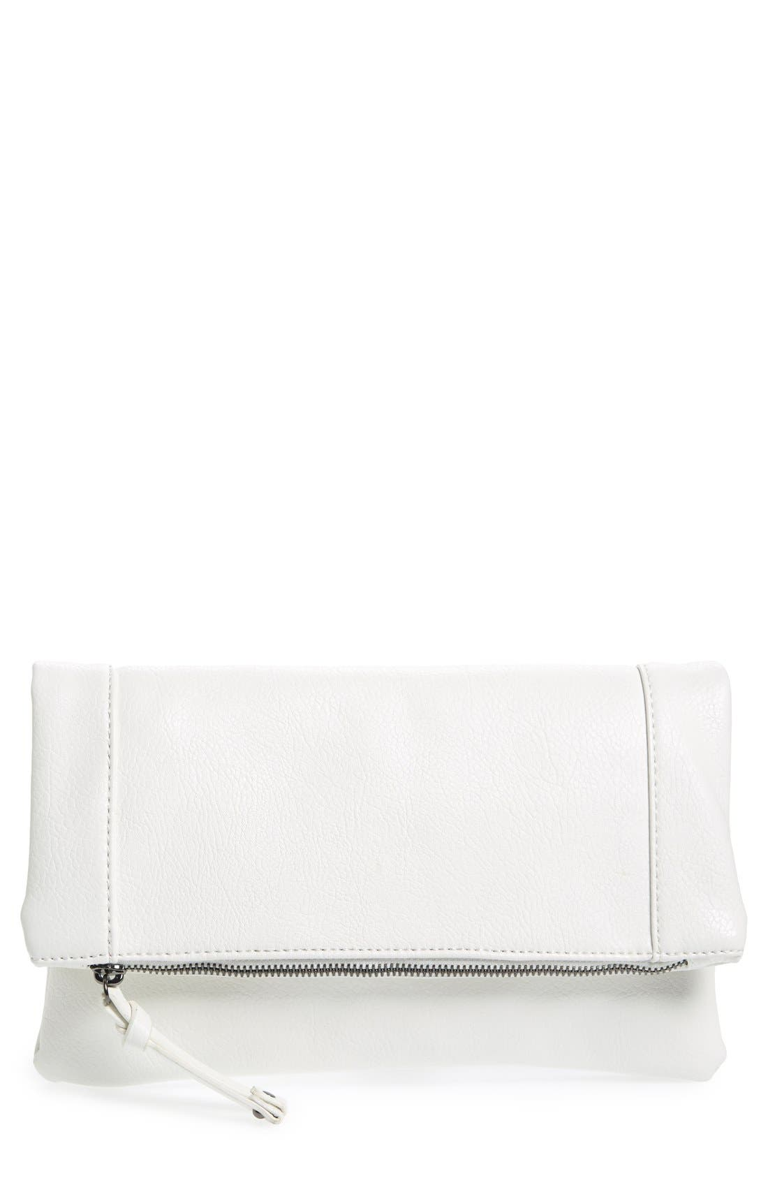 ,                             Marlena Faux Leather Foldover Clutch,                             Main thumbnail 33, color,                             101