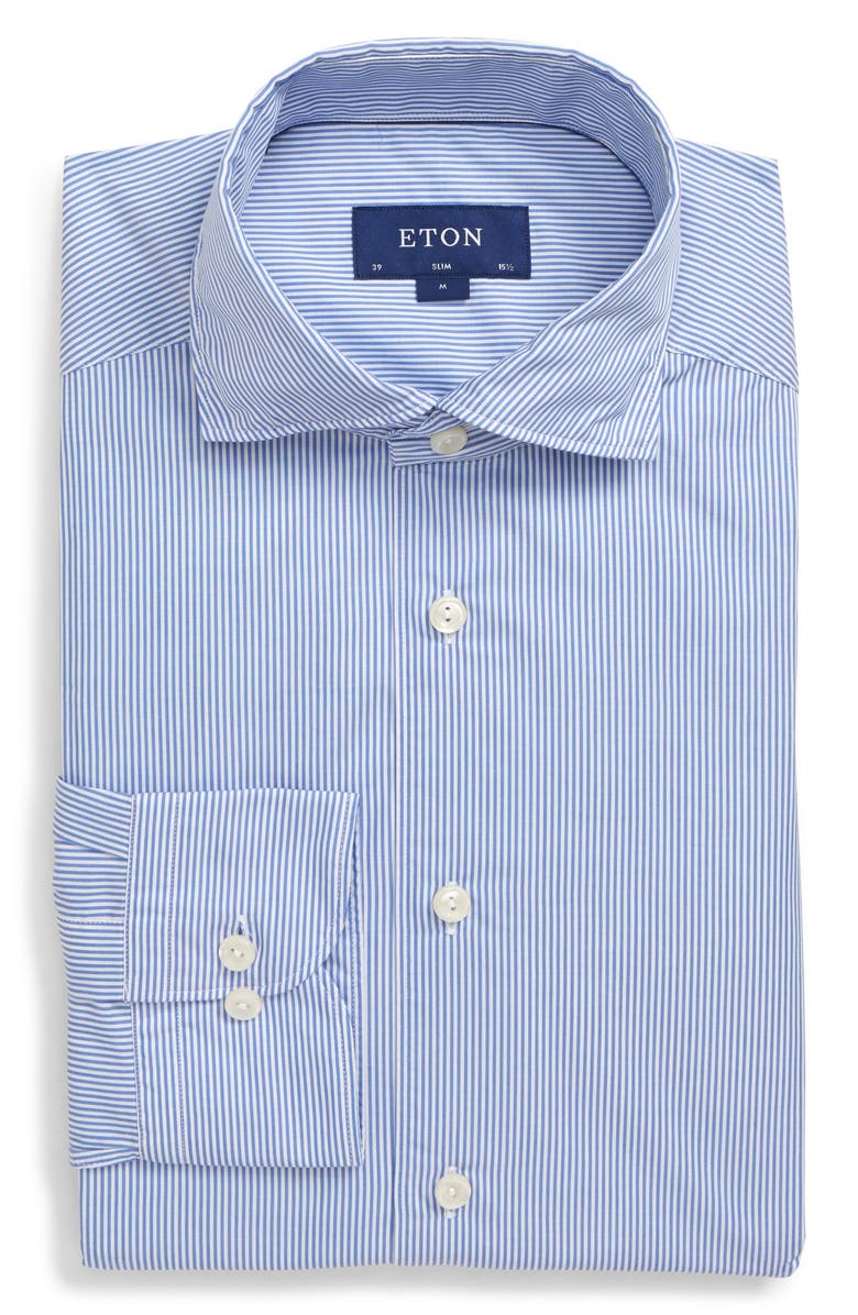 ETON Soft Collection Slim Fit Stripe Dress Shirt, Main, color, BLUE