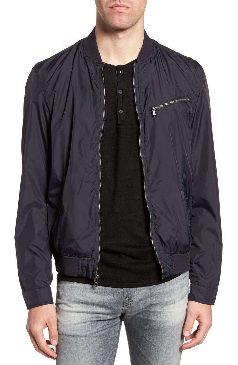 JOHN VARVATOS STAR USA Slim Fit Bomber Jacket, Main, color, MARINE