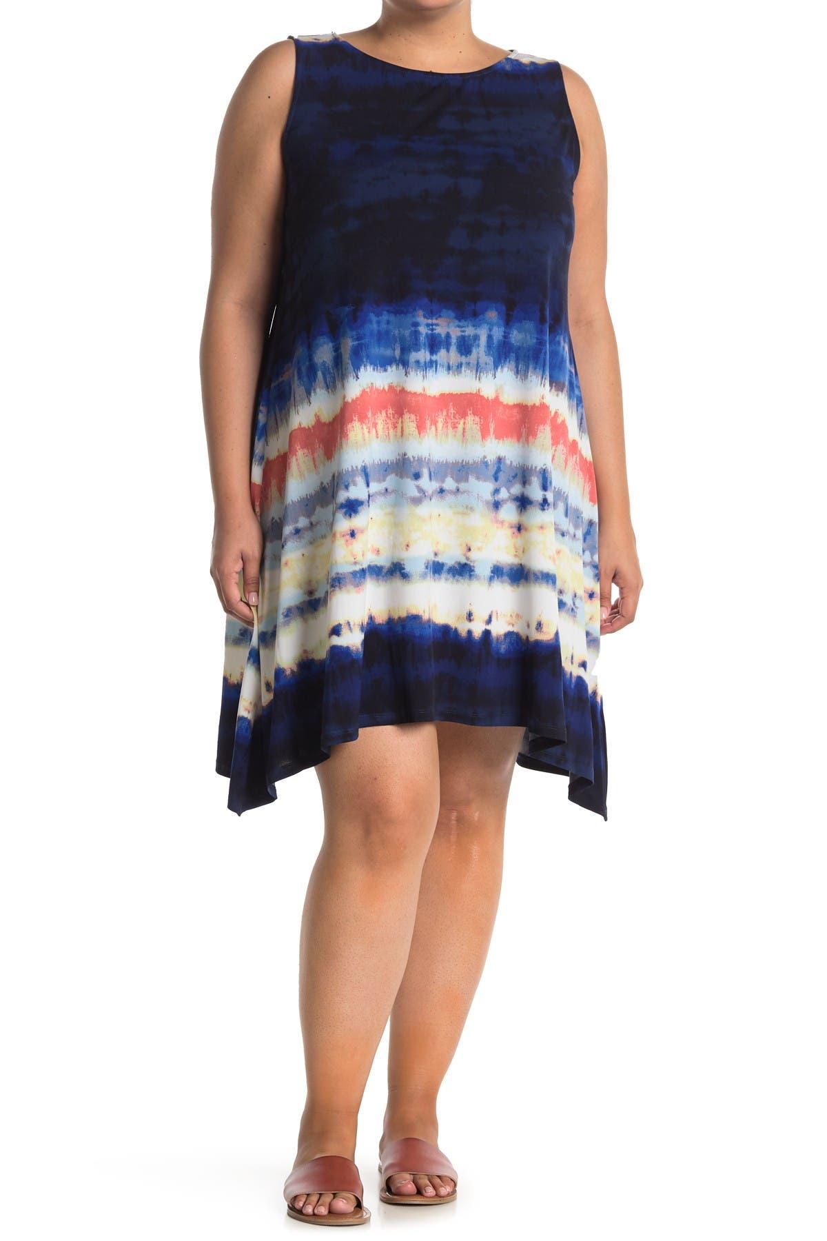Image of Donna Morgan Patterned Asymmetrical Hem Tank Dress
