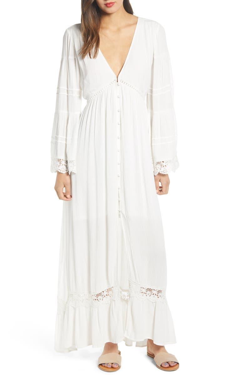 BAND OF GYPSIES Baja Lace Trim Long Sleeve Maxi Dress, Main, color, 900