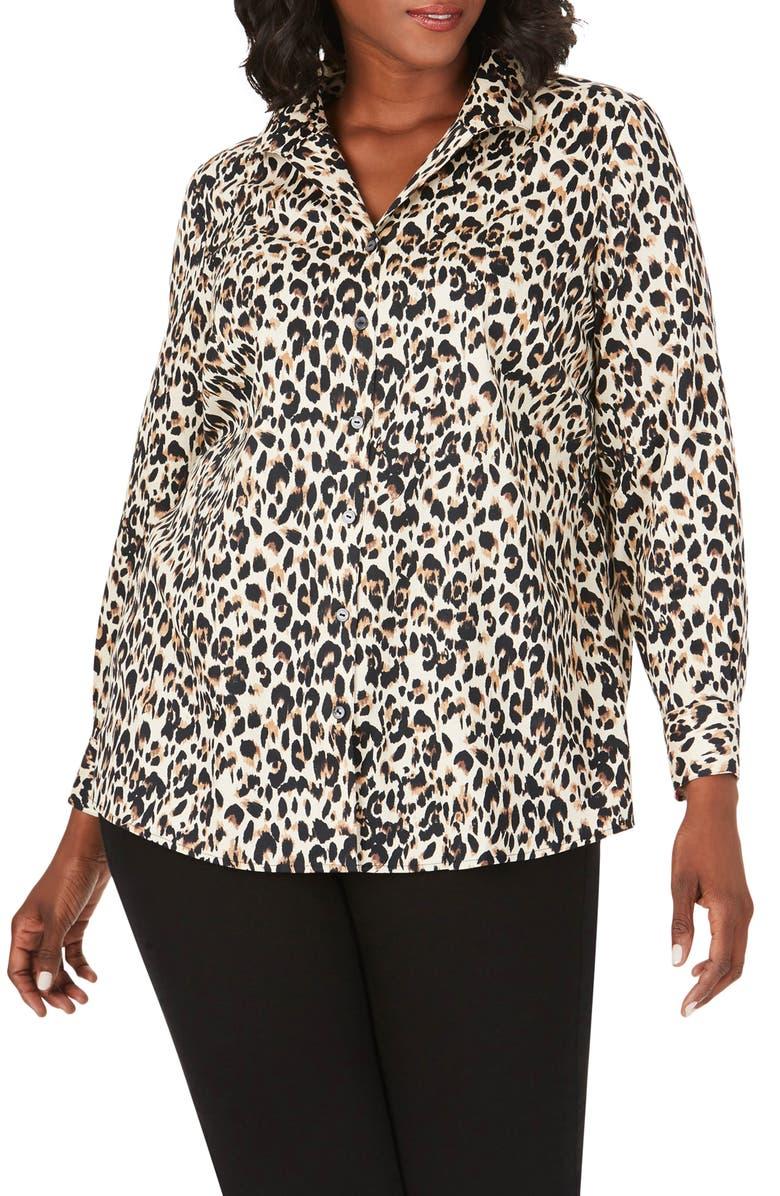 FOXCROFT Lucca Leopard Print Shirt, Main, color, BISCOTTI