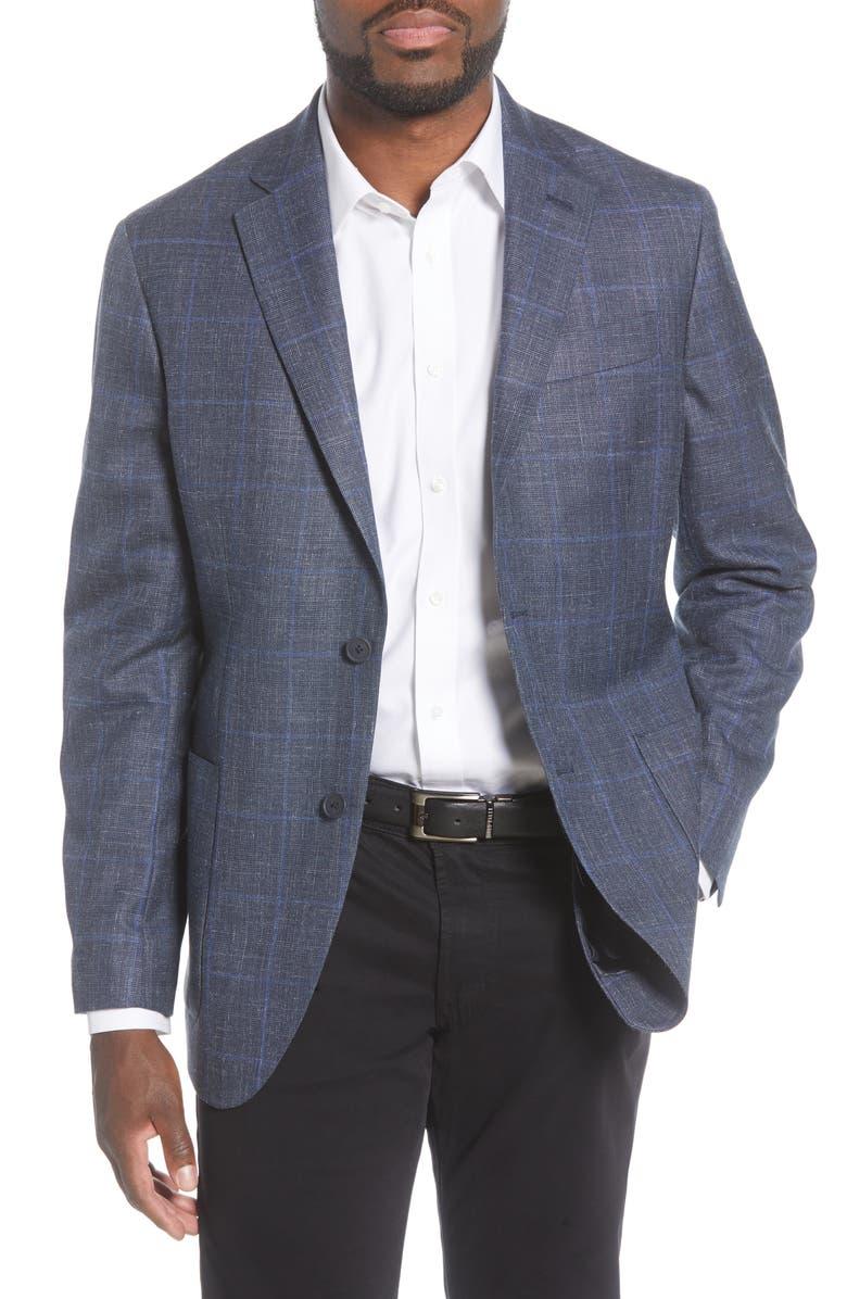 NORDSTROM MEN'S SHOP Trim Fit Plaid Wool, Silk & Linen Sport Coat, Main, color, BLUE BIJOU WINDOW