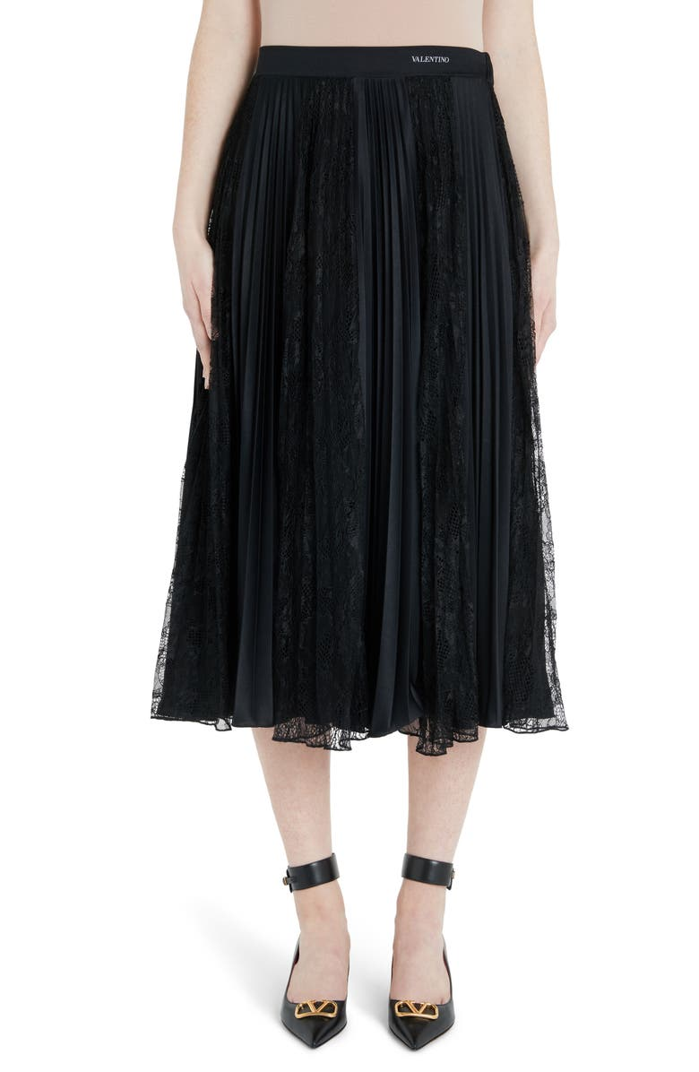 VALENTINO Lace Panel Jersey Plissé Midi Skirt, Main, color, 0NO-BLACK
