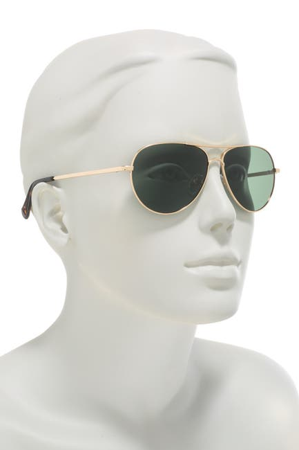 Image of Cole Haan Polarized 56mm Small Aviator Sunglasses