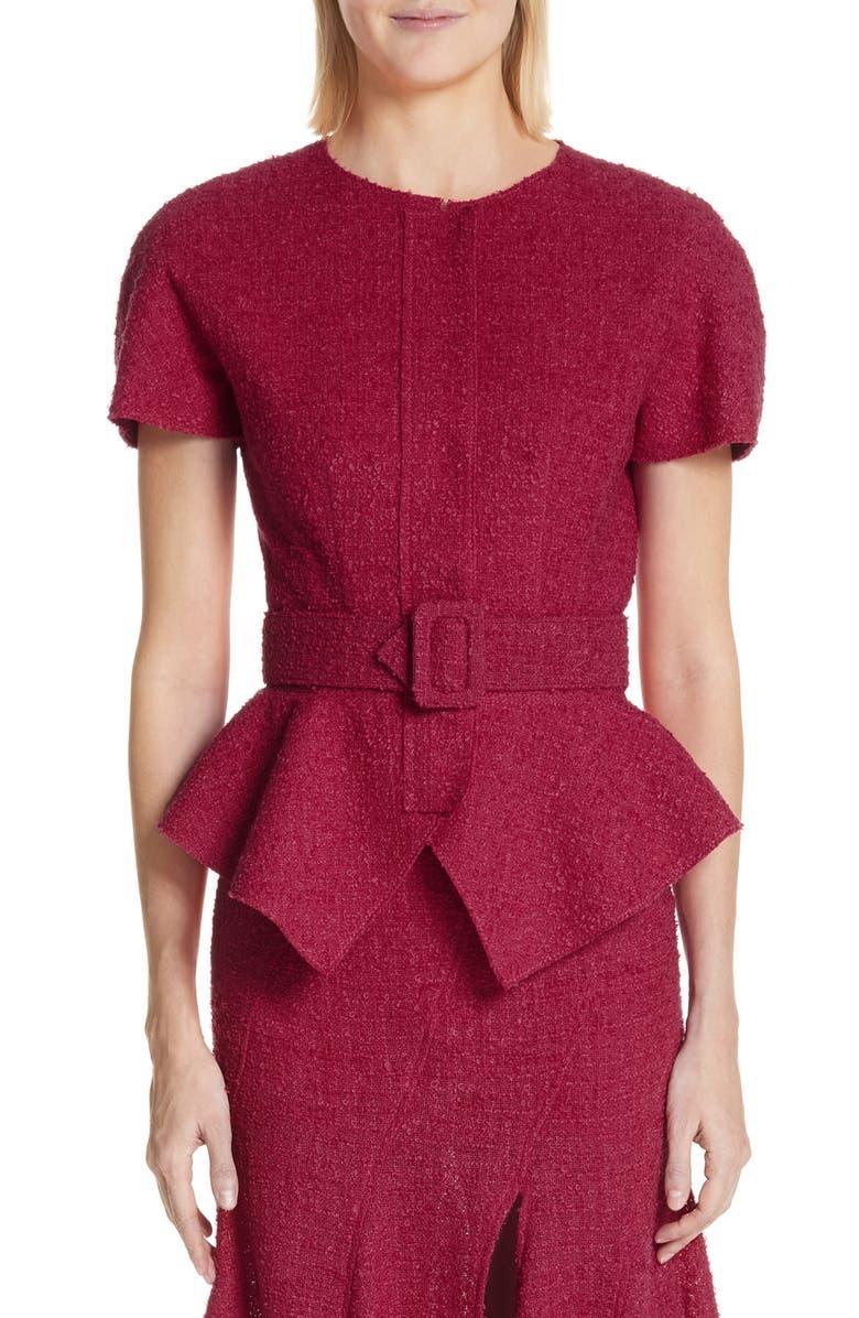 OSCAR DE LA RENTA Belted Peplum Wool Blend Tweed Jacket, Main, color, 607