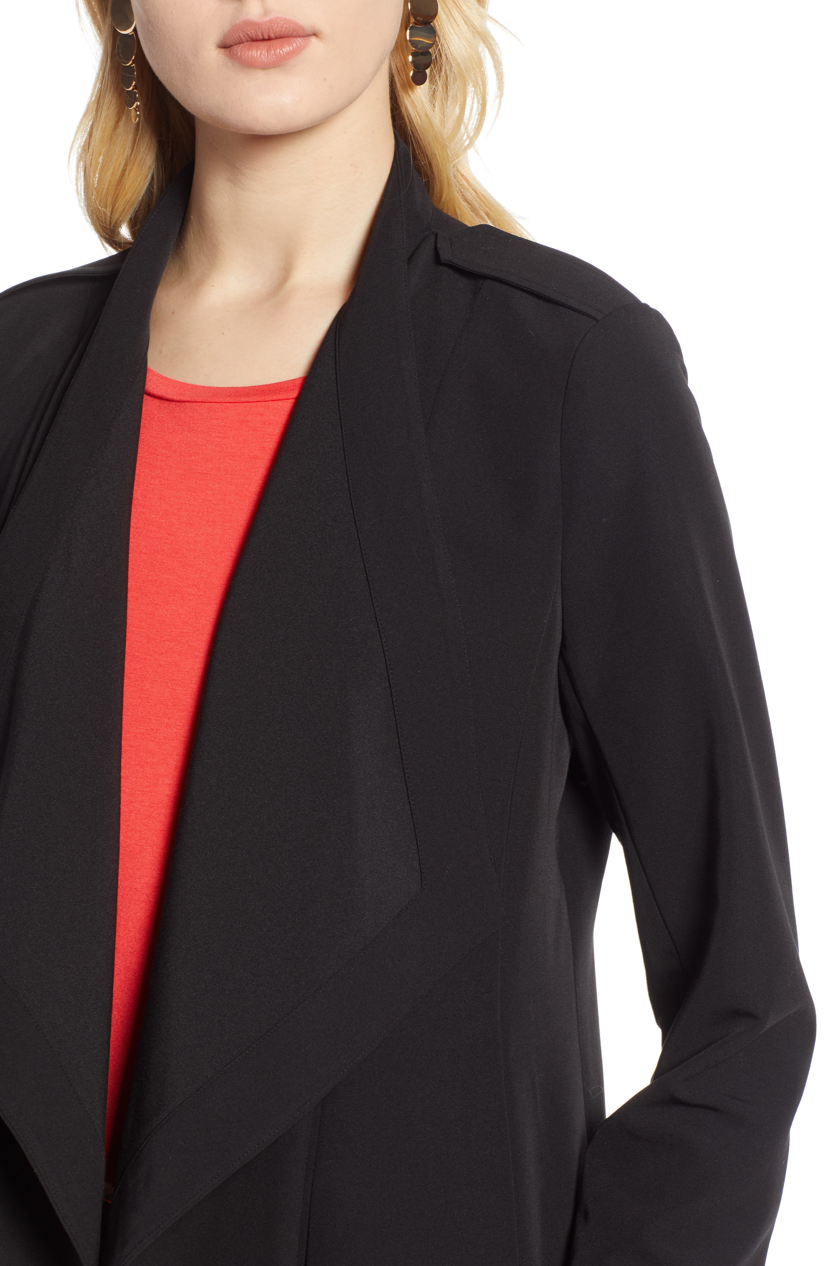 ,                             Drape Front Lightweight Jacket,                             Alternate thumbnail 6, color,                             BLACK