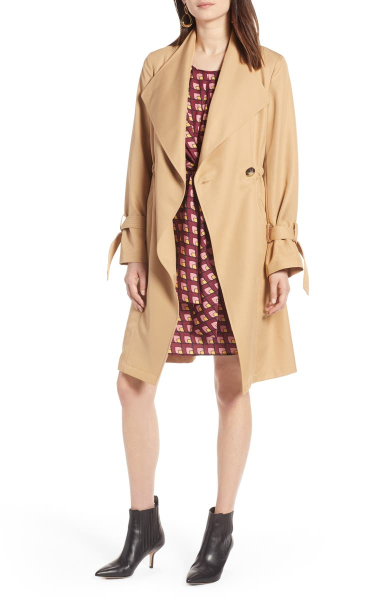 HALOGEN<SUP>®</SUP> Tie Sleeve Trench Coat, Main, color, 270
