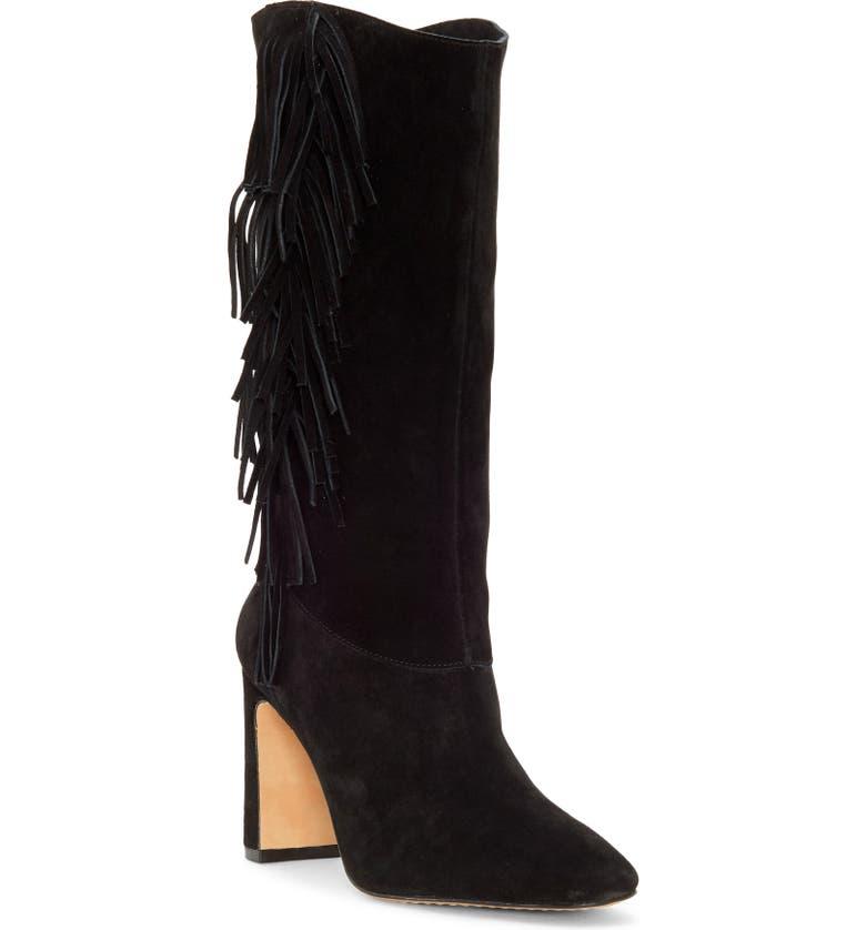 VINCE CAMUTO Sterla Fringe Boot, Main, color, BLACK SUEDE