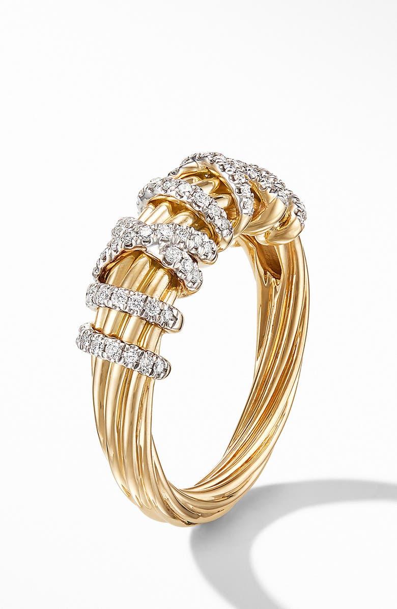 DAVID YURMAN Helena Small 18K Yellow Gold Ring with Diamonds, Main, color, GOLD/ DIAMOND