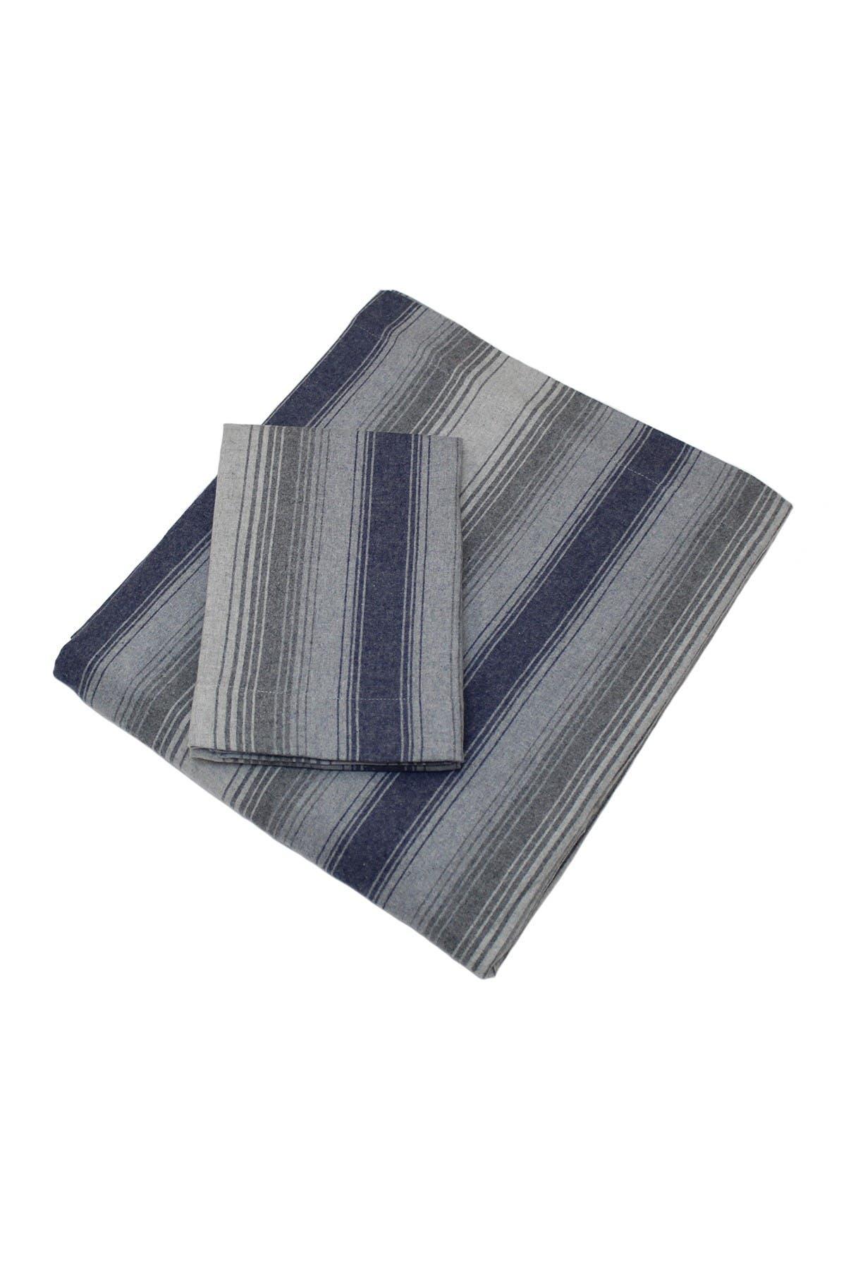 Image of Belle Epoque Flannel Sheet Set Blue/Grey Stripe - Twin