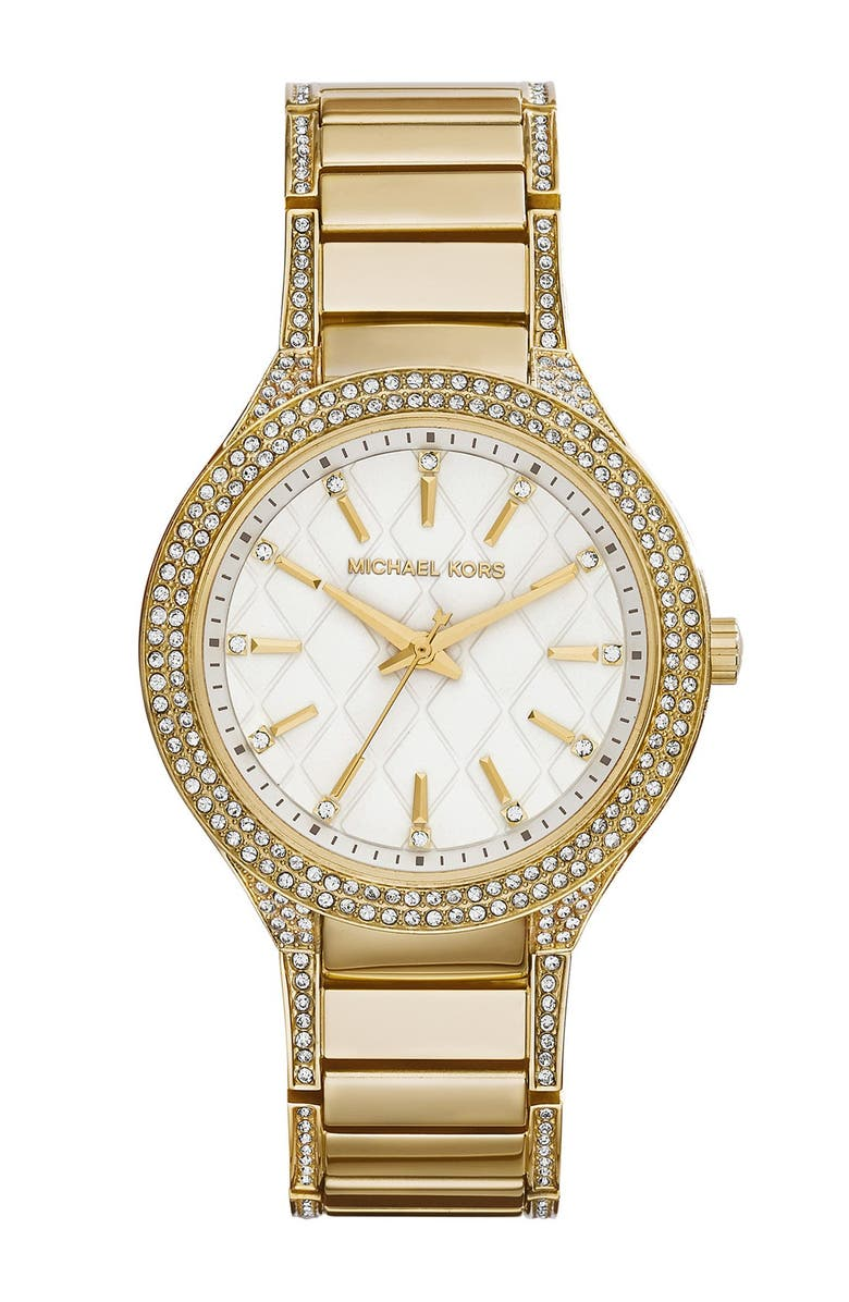MICHAEL MICHAEL KORS Michael Kors 'Kerry' Quilted Dial Crystal Accent Bracelet Watch, 38mm, Main, color, 710