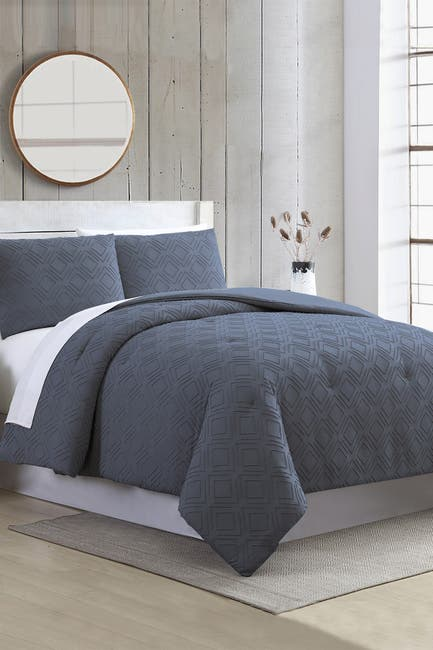 Image of Modern Threads 3-Piece Clipped Jacquard Comforter Set - Ethos Navy - Queen