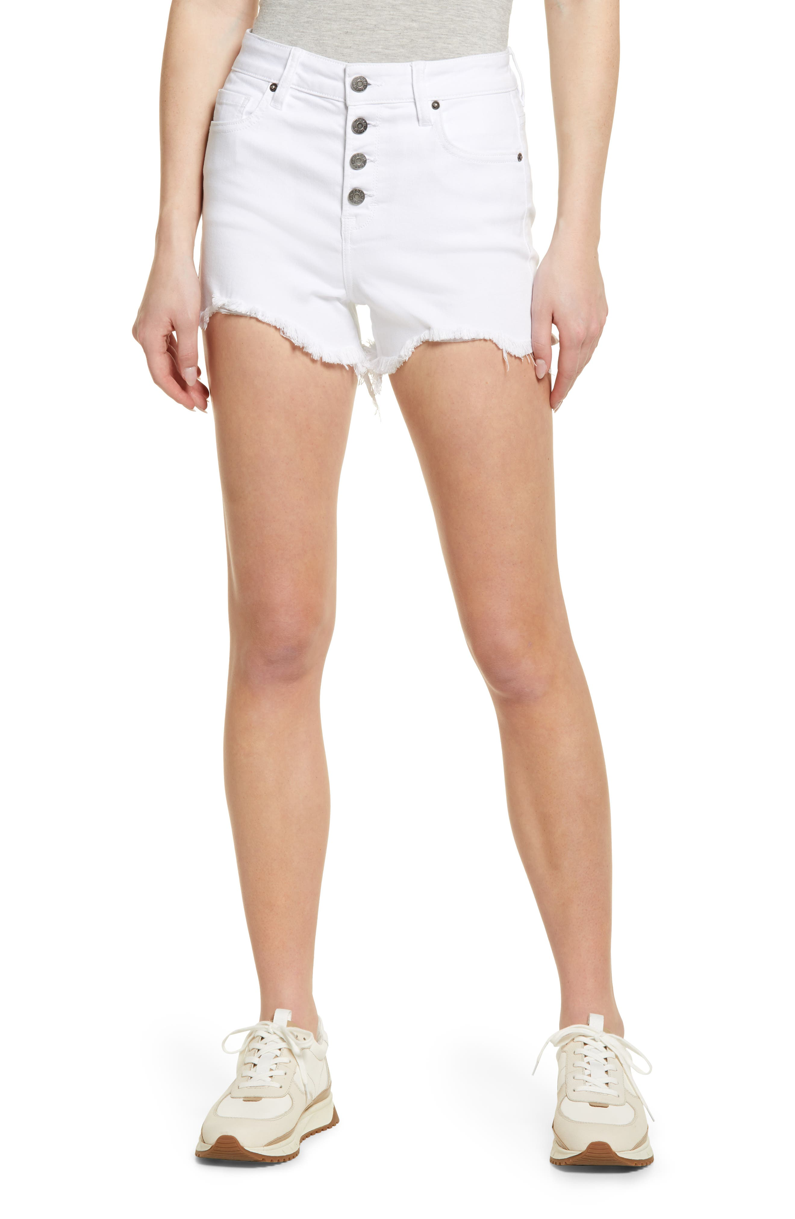 Button Fly High Waist Cutoff Mom Shorts
