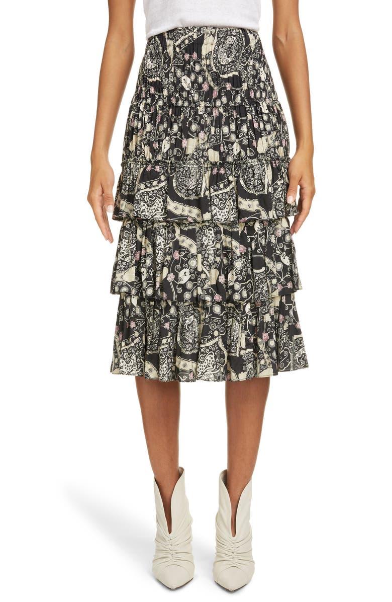 ISABEL MARANT ÉTOILE Cencia Tiered Skirt, Main, color, BLACK/ BEIGE